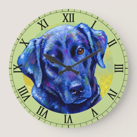 Colorful Black Labrador Retriever Dog Wall Clock