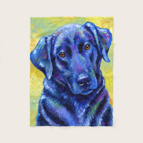 Colorful Black Labrador Retriever Fleece Blanket