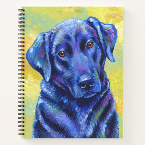 Colorful Black Labrador Retriever Spiral Notebook