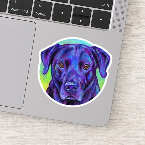 Colorful Black Labrador Retriever Vinyl Sticker