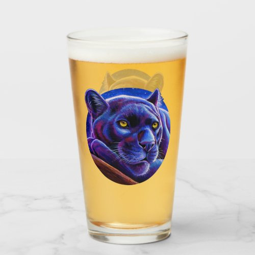 Colorful Black Leopard Panther Glass Cup