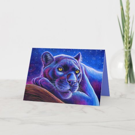 Colorful Black Leopard Panther Greeting Card