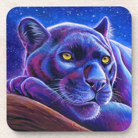 Colorful Black Leopard Panther Plastic Coasters