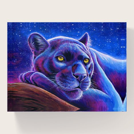 Colorful Black Leopard Panther Stars Paperweight
