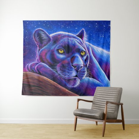 Colorful Black Leopard Panther Tapestry
