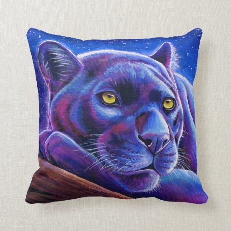 Colorful Black Leopard Panther Throw Pillow