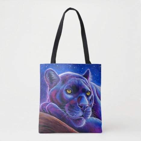 Colorful Black Leopard Panther Tote Bag