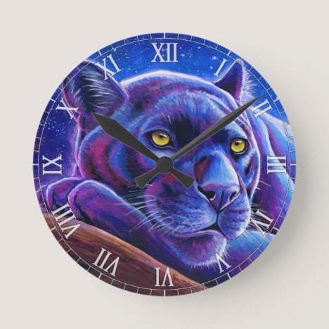 Colorful Black Leopard Panther Wall Clock