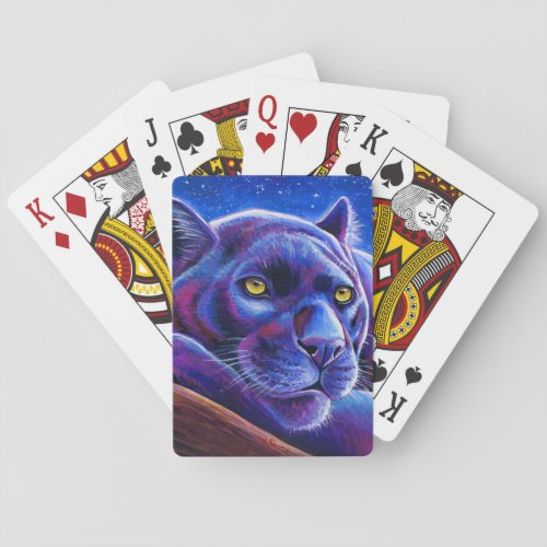 Colorful Black Leopard Playing Cards