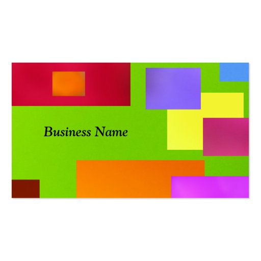 Colorful Black On Green Business Cards