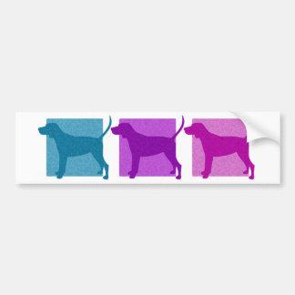 Colorful Black & Tan Coonhound Silhouettes Bumper Sticker
