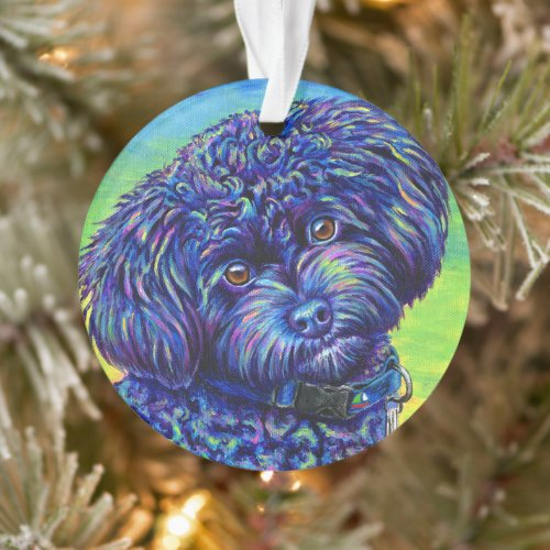 Colorful Black Toy Poodle Acrylic Ornament