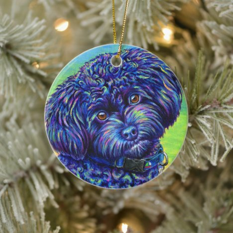 Colorful Black Toy Poodle Ceramic Ornament