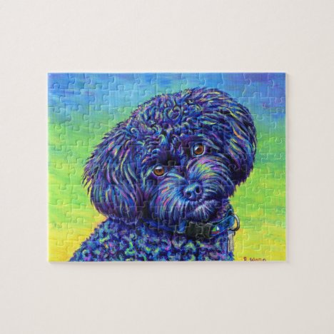 Colorful Black Toy Poodle Dog Jigsaw Puzzle