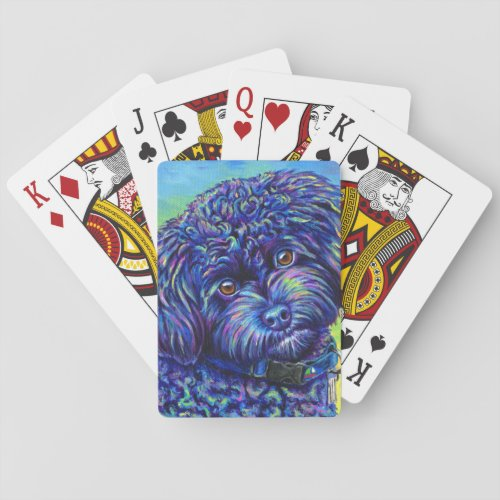 Colorful Black Toy Poodle Dog Playing Cards