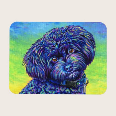Colorful Black Toy Poodle Flexible Magnet