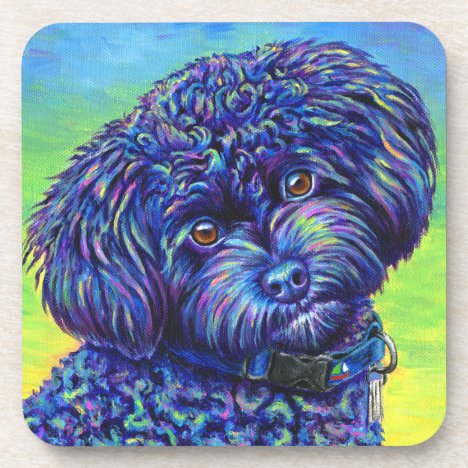 Colorful Black Toy Poodle Plastic Coasters