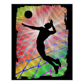 Colorful Blast Beach Volleyball Poster