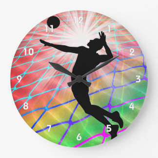 Colorful Blast in Volleyball Large Clock