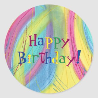 Colorful Blends Happy Birthday Stickers