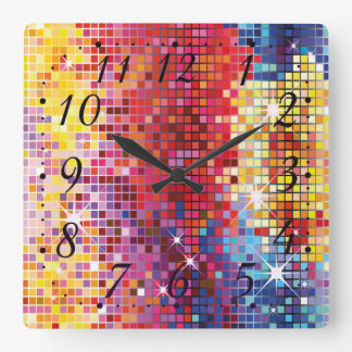 Colorful Bling Design Square Wall Clock