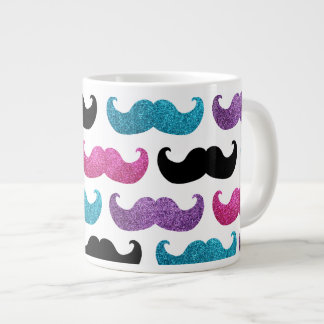 Colorful bling mustache pattern (Faux glitter) 20 Oz Large Ceramic Coffee Mug