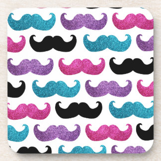 Colorful bling mustache pattern (Faux glitter) Beverage Coaster