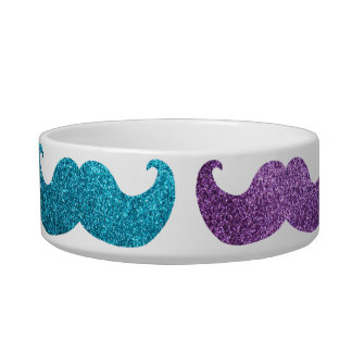 Colorful bling mustache pattern (Faux glitter) Bowl