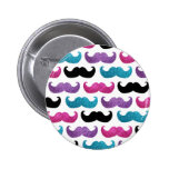 Colorful bling mustache pattern (Faux glitter) 2 Inch Round Button