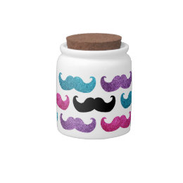 Colorful bling mustache pattern (Faux glitter) Candy Dish