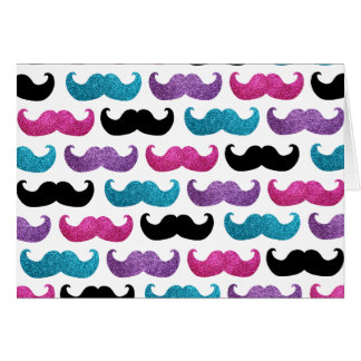 Colorful bling mustache pattern Faux glitter Greeting Cards