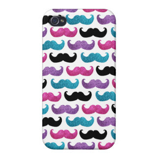 Colorful bling mustache pattern (Faux glitter) Cases For iPhone 4
