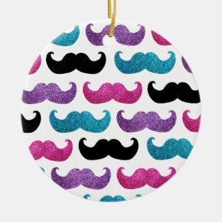 Colorful bling mustache pattern (Faux glitter) Ceramic Ornament