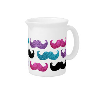 Colorful bling mustache pattern (Faux glitter) Drink Pitchers