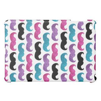 Colorful bling mustache pattern (Faux glitter) iPad Mini Case
