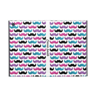 Colorful bling mustache pattern (Faux glitter) iPad Mini Cases