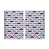 Colorful bling mustache pattern (Faux glitter) iPad Mini Cover