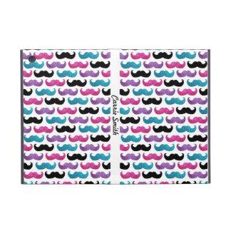 Colorful bling mustache pattern (Faux glitter) iPad Mini Cover