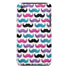 Colorful bling mustache pattern (Faux glitter) iPod Case-Mate Case at Zazzle