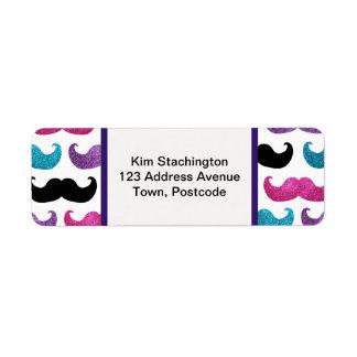 Colorful bling mustache pattern (Faux glitter) Label