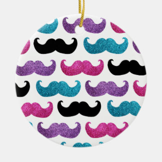 Colorful bling mustache pattern (Faux glitter) Double-Sided Ceramic Round Christmas Ornament