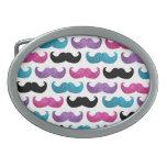 Colorful bling mustache pattern (Faux glitter) Oval Belt Buckle