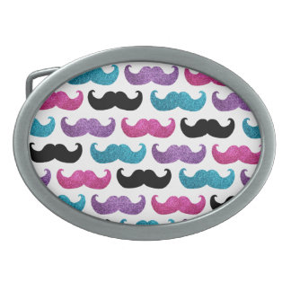 Colorful bling mustache pattern (Faux glitter) Oval Belt Buckle