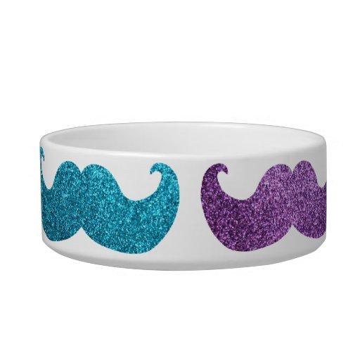 Colorful bling mustache pattern (Faux glitter) Pet Bowls
