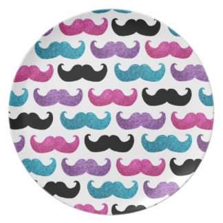 Colorful bling mustache pattern (Faux glitter) Party Plates