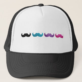 Colorful bling mustache pattern (Faux glitter) Trucker Hat