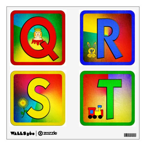Colorful Block Alphabet Wall Decal