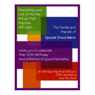 Colorful blocked Invitation or thank you card