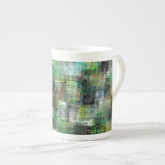 Colorful Blocks Greens Teals Tea Cup