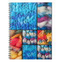 Colorful blocks of knitted yarn spiral notebooks